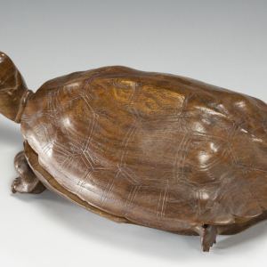 JAPANESE CARVED WOODEN FIGURE OF A TURTLE INKHOLDER