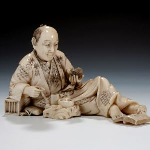 JAPANESE IVORY OKIMONO MAN & RAT