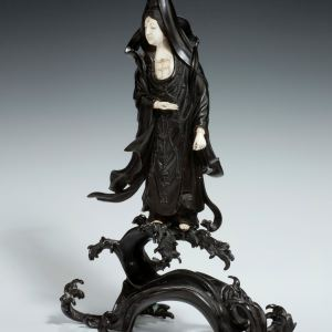 JAPANESE BRONZE AND IVORY FEMALE FIGURE OF KANNON