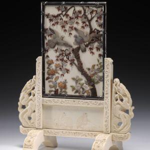ANTIQUE JAPANESE IVORY SHIBAYAMA TABLE SCREEN