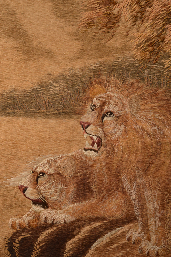 japanese-silk-embroidery-needlework-pictures-tigers-lions-