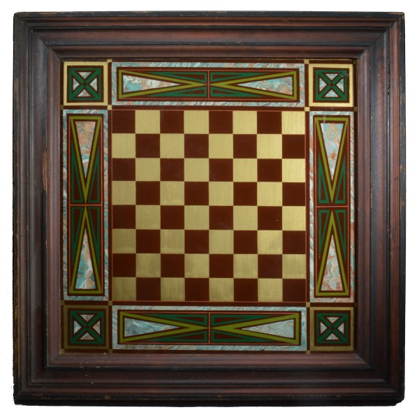 FRAMED PAINTED CHESS BOARD ON GLASS