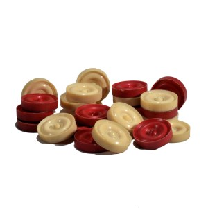 SET OF 19TH CENTURY IVORY DRAUGHTS COUNTERS
