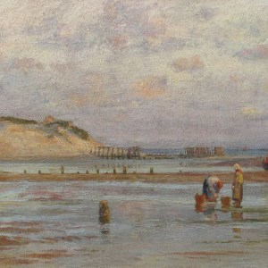 CHARLES WILLIAM WYLLIE-OIL PAINTING-GATHERING BAIT