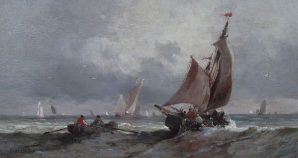 FERDINAND BONHEUR-OIL PAINTING-SAILING IN THE CHANNEL