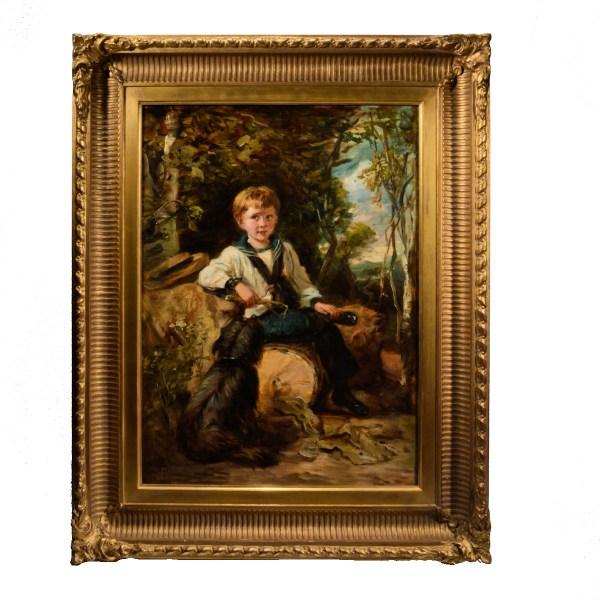john-thomas-peele-oil-painting-portrait-boy-dog-antique-DSC_0001