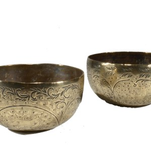 PAIR OF PRESSED BRASS BOWLS