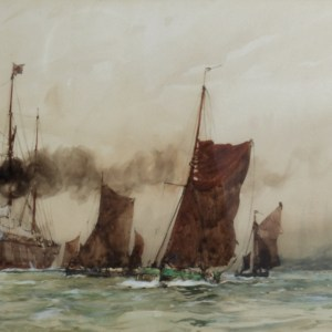 CHARLES DIXON-WATERCOLOUR PAINTING-OFF TILBURY