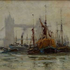 ROBERT WEIR ALLAN-OIL PAINTING-SHIPPING ON RIVER THAMES