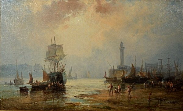 WILLIAM ANSLOW THORNBERY-OIL PAINTING-WHITBY HARBOUR