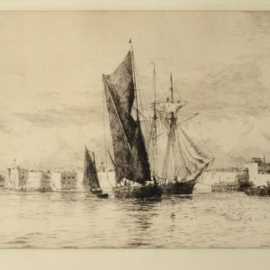 WILLIAM LIONEL WYLLIE-ETCHING-HOT WALLS PORTSMOUTH