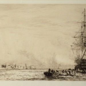 WILLIAM LIONEL WYLLIE-ETCHING-HMS VICTORY