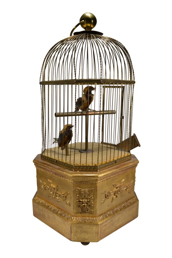 ANTIQUE BONTEMS DOUBLE SINGING BIRDS IN A CAGE COIN OPERATED