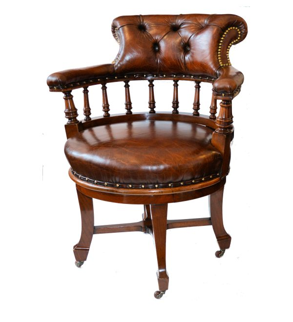 ANTIQUE LEATHER COVERED REVOLVING MAHOGANY DESK CHAIR