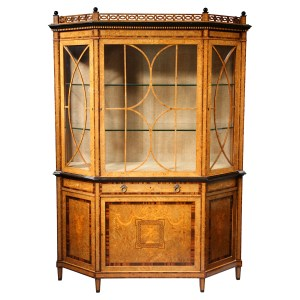 ANTIQUE BURR ELM DUTCH DISPLAY CABINET