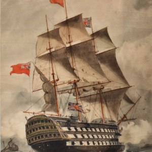 WILLIAM EDWARD ATKINS-WATERCOLOUR-1ST RATE SHIP OF THE LINE