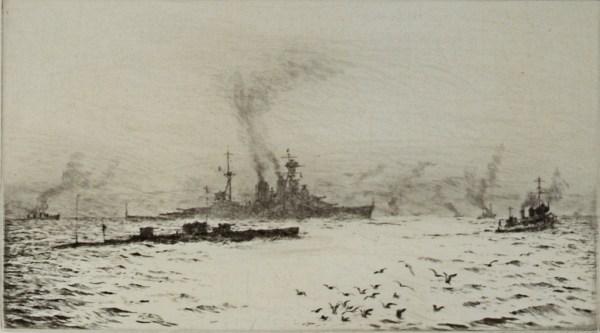 WILLIAM WYLLIE-ETCHING-HMS HOOD & SUBMARINE