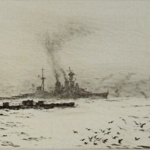 WILLIAM WYLLIE-ETCHING-HMS HOOD & SUBMARINE
