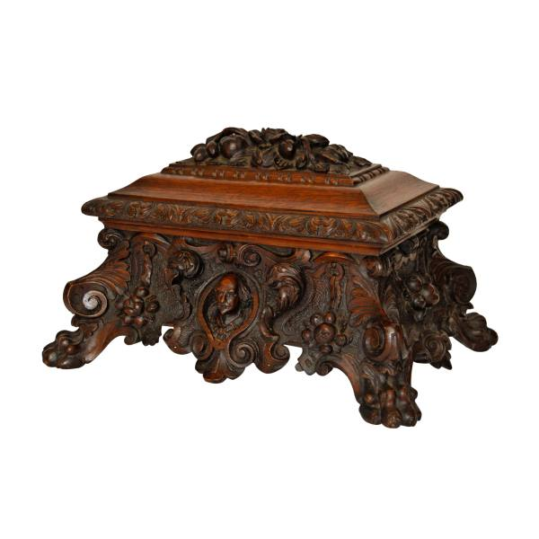 ANTIQUE 19TH CENTURY CARVED OAK CASKET