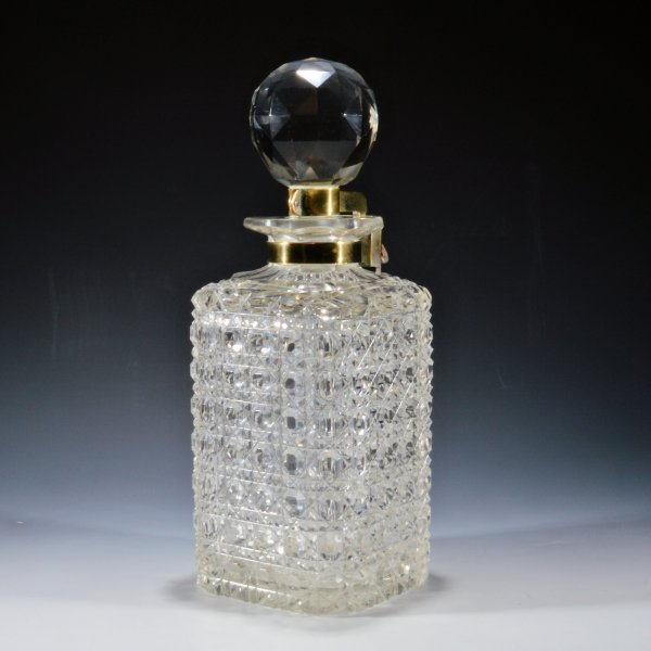 ANTIQUE 19TH CENTURY LOCKING GLASS WHISKY DECANTER