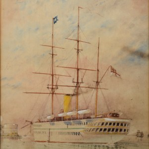 WILLIAM EDWARD ATKINS-WATERCOLOUR-HM TROOPSHIP SERAPIS