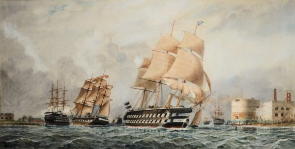 WILLIAM EDWARD ATKINS-WATERCOLOUR-STEAM SAIL WARSHIP PORTSMOUTH