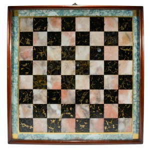 ANTIQUE PAINTED FAUX MARBLE ON GLASS CHESS BOARD