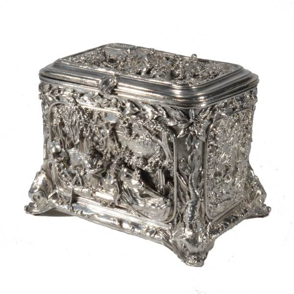 ANTIQUE DUTCH ORNATE SILVER PLATED WEDDING CASKET