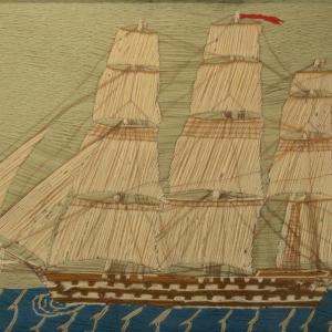 ANTIQUE SAILOR'S WOOLWORK PICTURE OF A WARSHIP