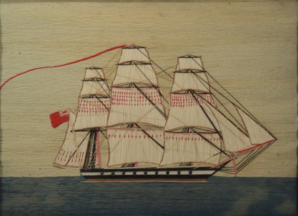 ANTIQUE SAILOR'S WOOLWORK PICTURE THREE MASTED WARSHIP