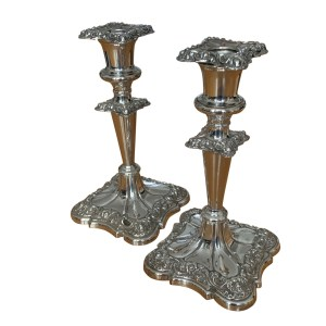 ANTIQUE PAIR OF SILVER PLATED CANDLESTICKS