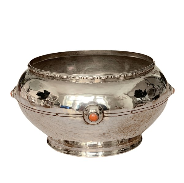 ARTS & CRAFTS SILVER BOWL WITH CORAL BOSSES BY A E JONES