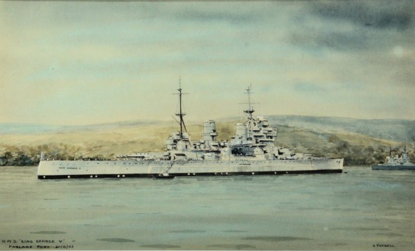 ERIC TUFNELL-WATERCOLOUR-HMS KING GEORGE V