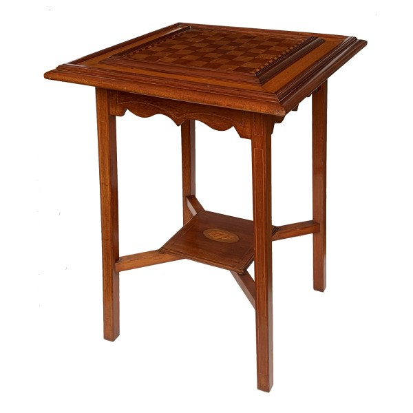 ANTIQUE CONTINENTAL MAHOGANY CHESS TOP TABLE