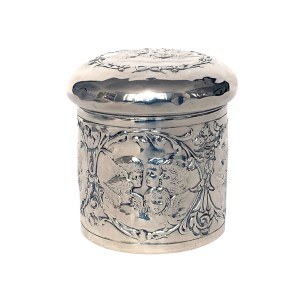 ANTIQUE SILVER CHERUB EMBOSSED LIDDED JAR BY H MATTHEWS