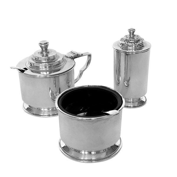 VINTAGE SILVER 3 PIECE CONDIMENT SET IN GEORGIAN STYLE