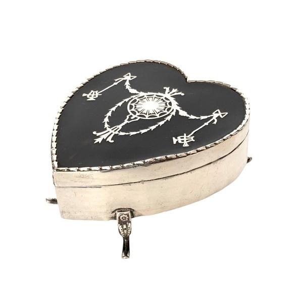 ANTIQUE SILVER & TORTOISESHELL HEART SHAPED JEWELLERY BOX
