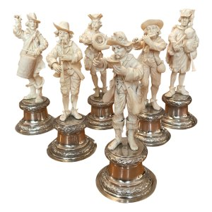 ANTIQUE SET 6 CARVED IVORY MUSICIANS FOR SALE IN UK