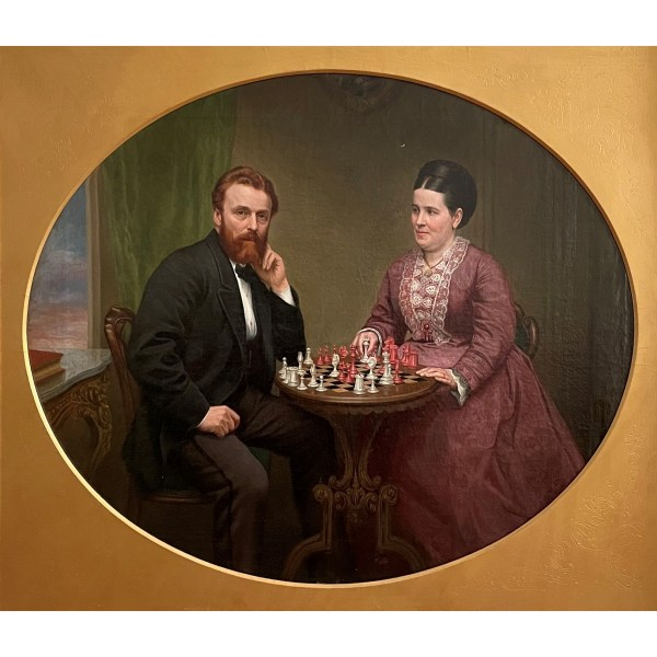 FIND OF SALE ANTIQUE OIL PAINTING CHESS PLAYERS IN UK