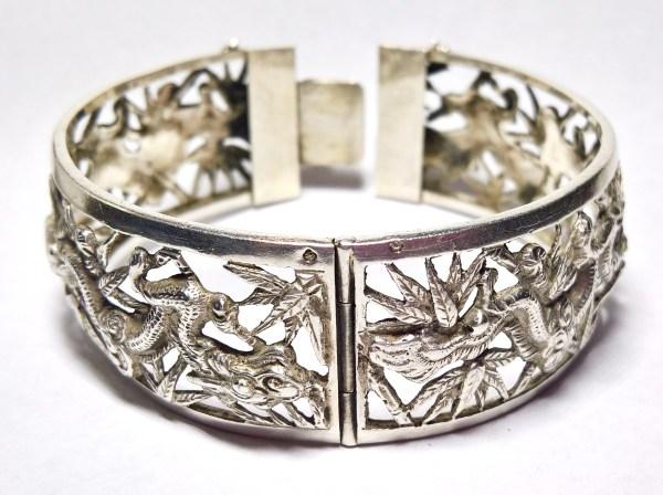antique-japonaiserie-bragon-silver-bangle-N662A (4)