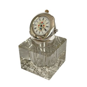 FIND ANTIQUE SILVER GLASS CLOCK INKWELL