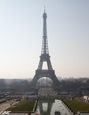 Eiffel Tower in the morning mist