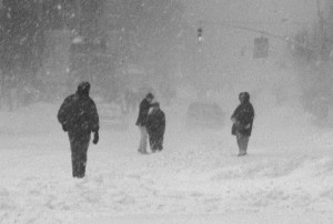 Winter - Four  people walking in New York City
