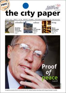 The City Paper Bogota's front page this month with Navarro Wolff