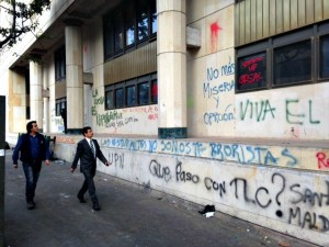 The Palacio de Justicia on the corner of the Plaza de Bolivar was singled out for special treatment by the vandals