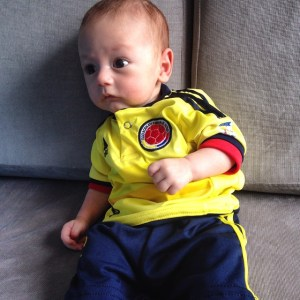 James in his new Colombia kit