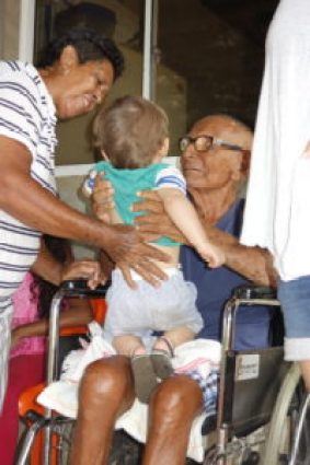 James with his 97 year old great grandfather Hippolito in Morales