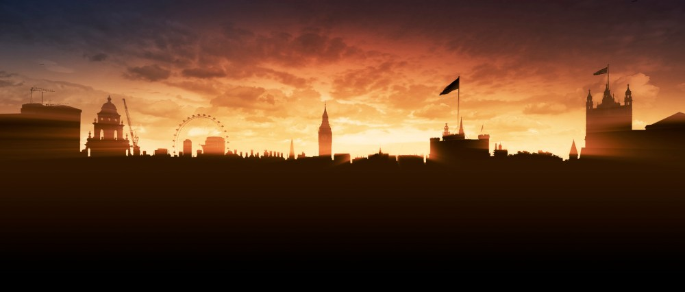 Finished silhouette of London at sunset