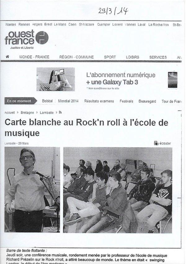 Carte Blanche au rock'n'roll - Ouest-France - Lamballe 29 mars 2014