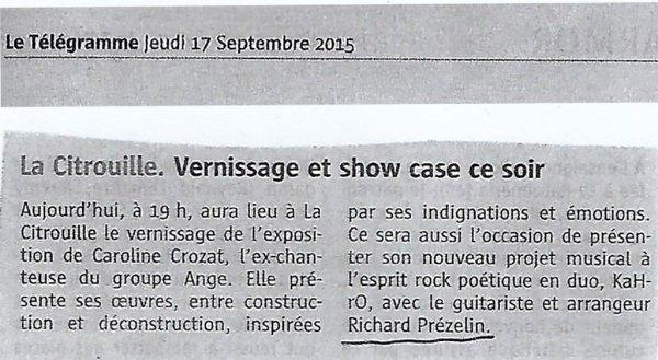La Citrouille - Vernissage et show case - Le Télégramme - 17 septembre 2015